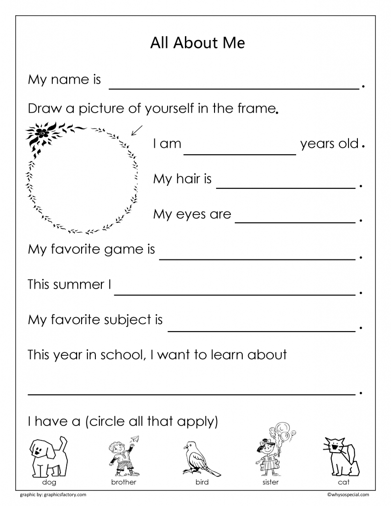 All About me Worksheets For Kids – Color On Pages: Coloring Pages ...