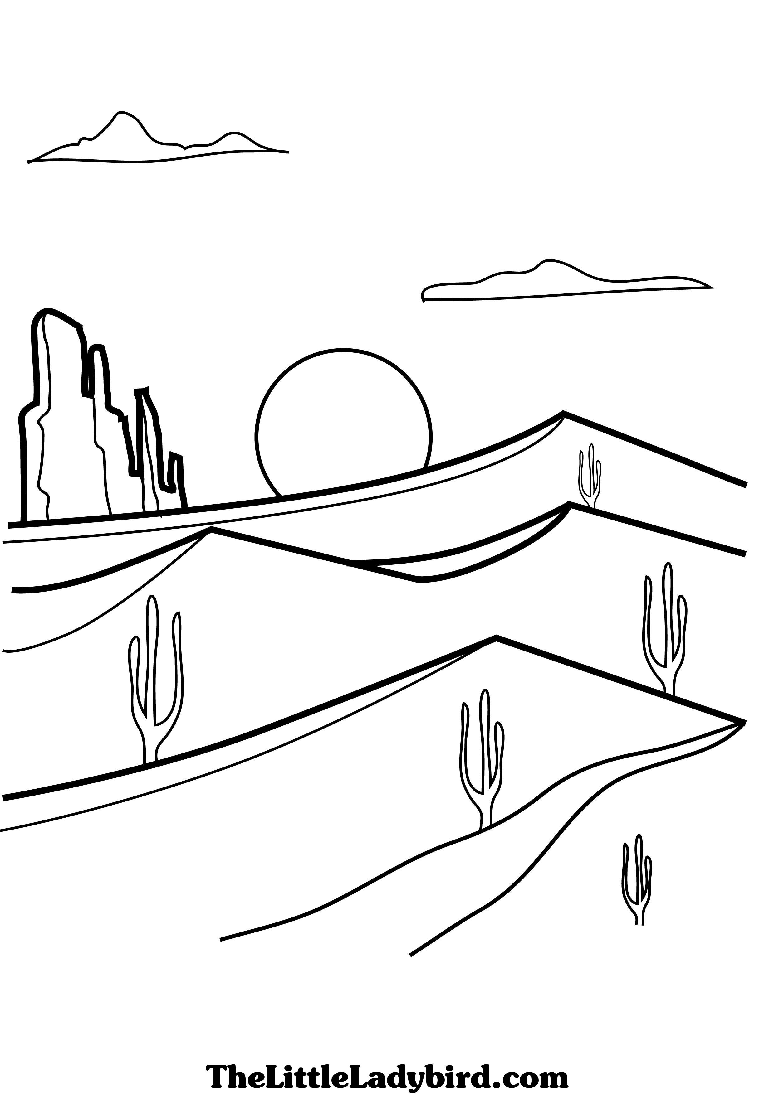 Desert Free Online Coloring – Color On Pages: Coloring Pages for Kids