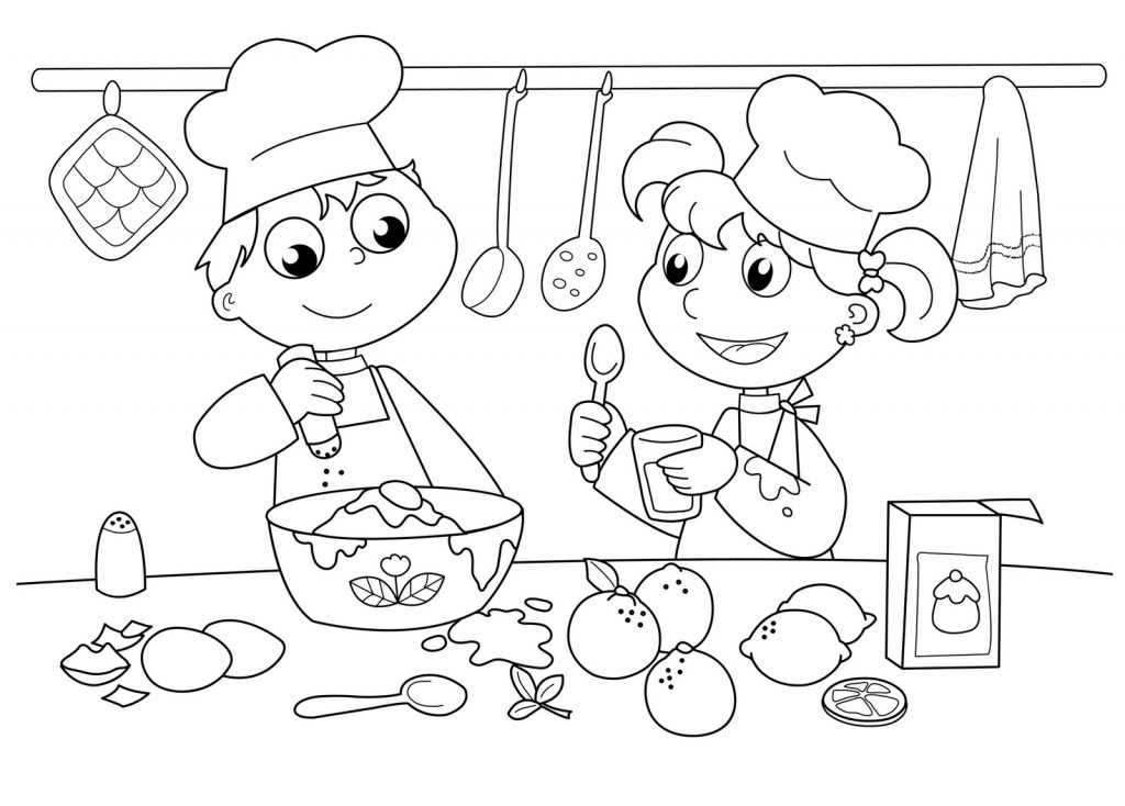 Kids-Baking-Coloring-Page-For-Children