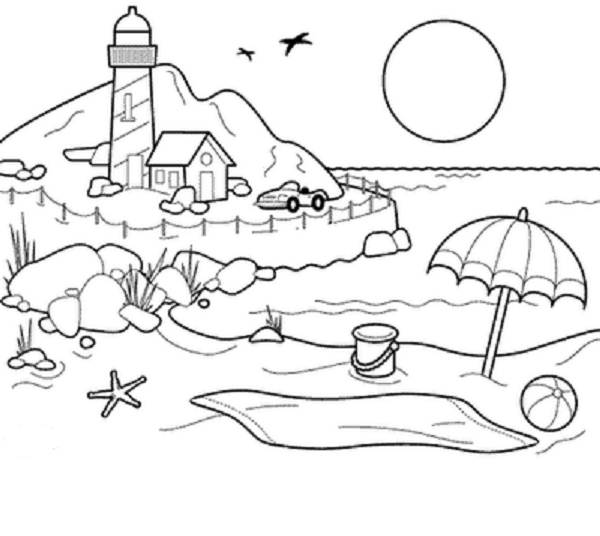 Beach Towel Coloring Page – Color On Pages: Coloring Pages for Kids