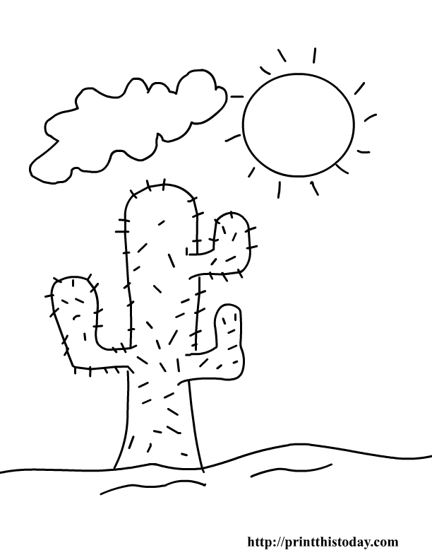 Cactus And Sun Desert Coloring Pages For Kids to Print – Color On ...