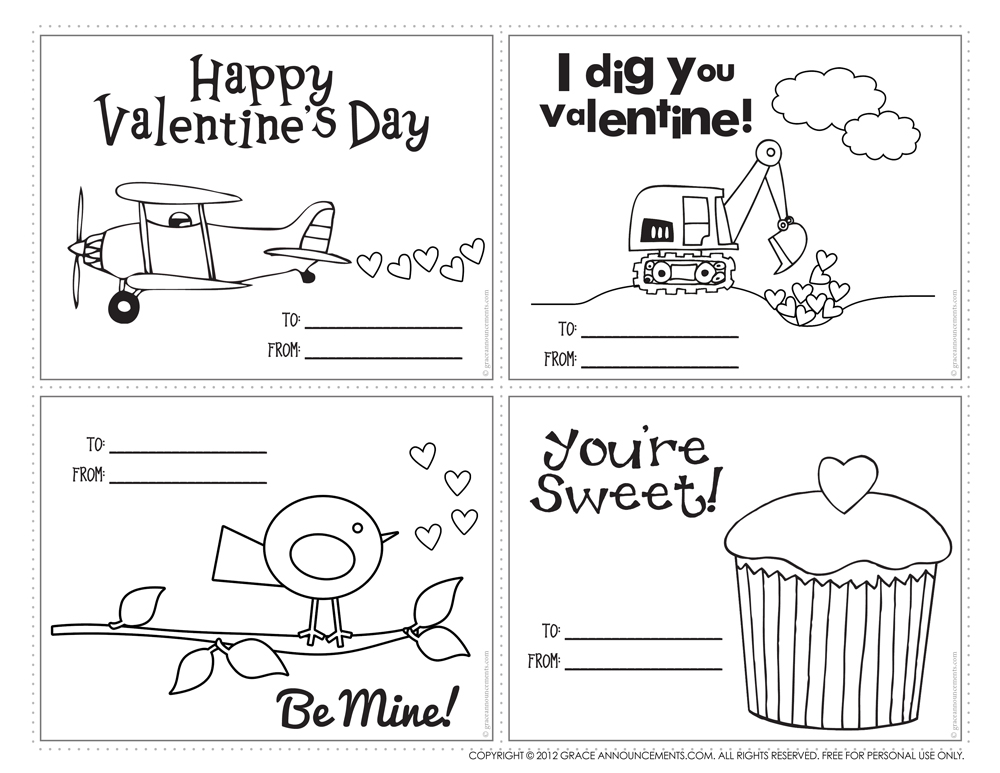 Printable Valentine Cards For Kids To Color Color On Pages